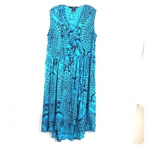 Denim 24/7 Maxi Wrap Dress 20W Blue High-low *O